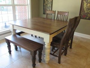 54 Square Farm House Table W Matching Benches And Chairs