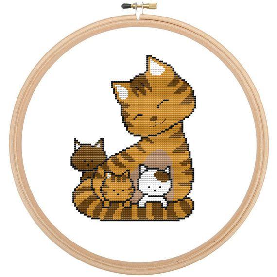 Cute Mama Cat with Kittens Cross Stitch Pattern ~ LeiaPatterns