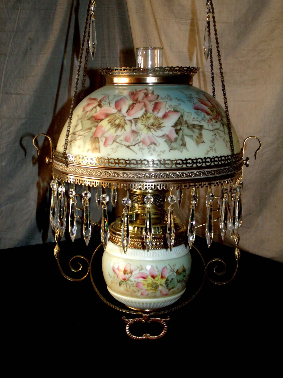 Antique B Amp H Hanging Oil Lamp Matching Floral Shade Amp
