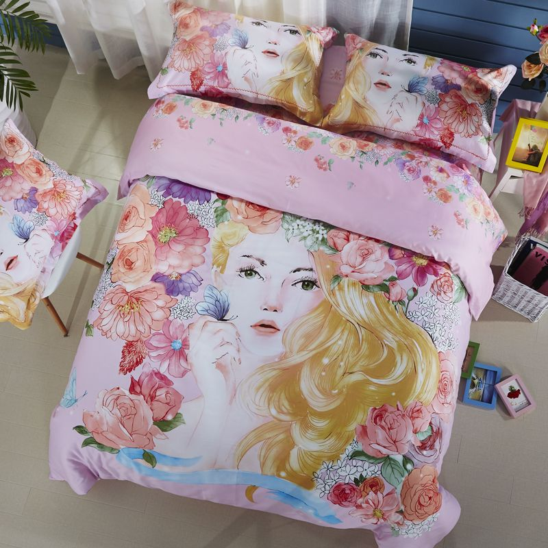 f61db56711e5 interior design Colorful Flowers Girl Butterfly Queen King Size Silk  Feeling Cotton Fabric Bedlinens Duvet Cover Flat Sheet Pillow Cases *  Clicking on the ...