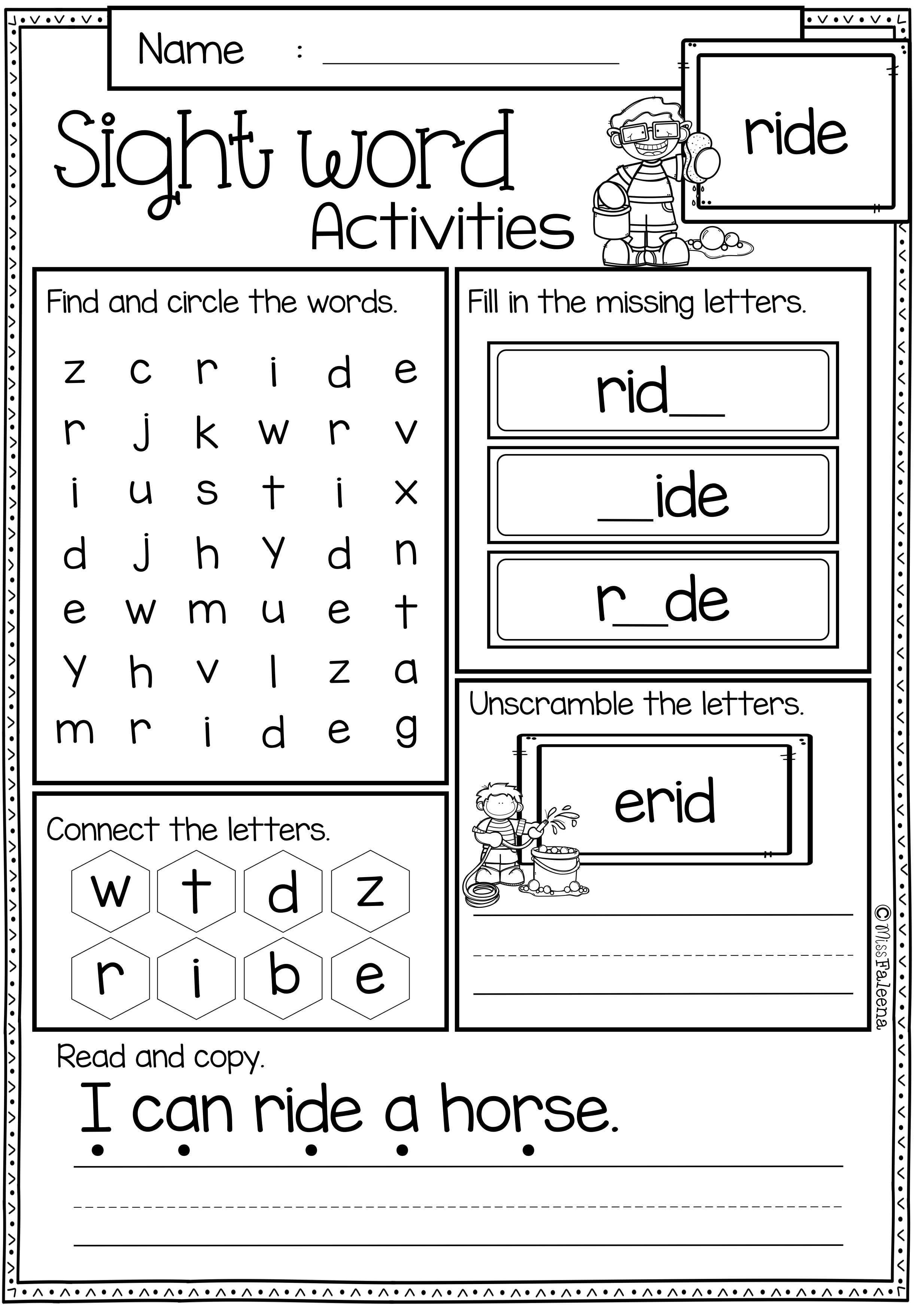 Sight Word Activities The Bundle Kindergarten Worksheets Sight Words Sight Words Kindergarten Sight Word Worksheets