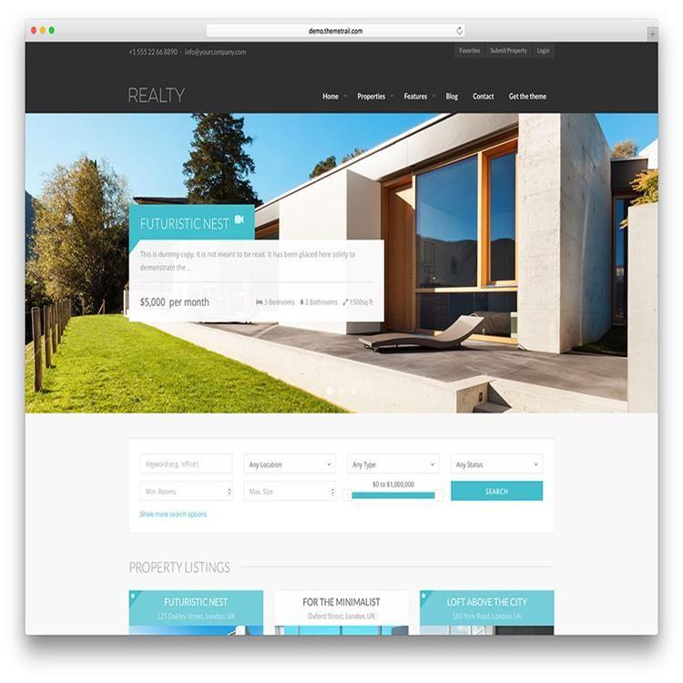 Realty modern real estate wordpress theme | Web | Pinterest