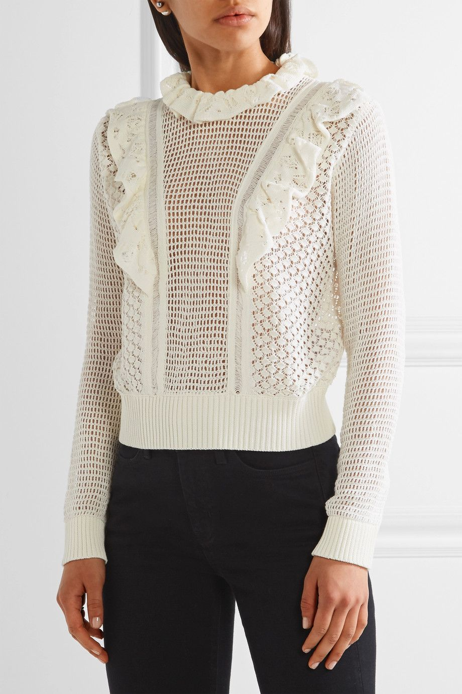 Cream crocheted cotton Button-fastening keyhole at back 100 ...