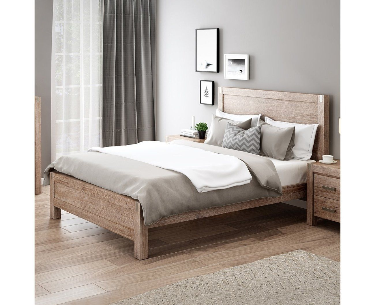 Nowra Bed Frame in Light Oak Colour Bedroom Furniture with Solid Wooden Base
