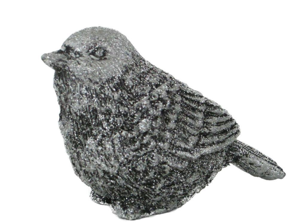 Figur Vogel Dekofigur   silber + Glitzer   Polyresin