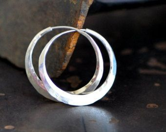 Dark Patina Silver Hoop Earrings 1 4 Inch With Raw By 2trickpony