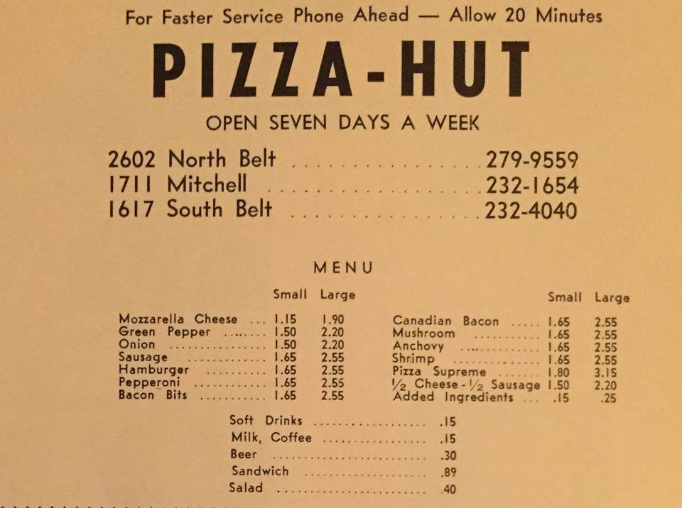 Pizza Hut Menu 1971 Http Ilovestjosephmo Com Pizza Hut Menu