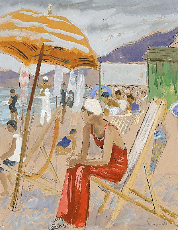 Isaac Grunewald 1889 1946 The Red Pajamas Alassio 1931 Peinture Art Expressionisme