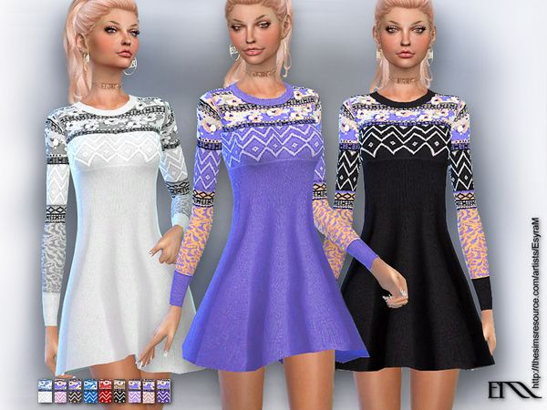 e7fc160e12 The Sims Resource  Embroidered knit dress by EsyraM • Sims 4 Downloads