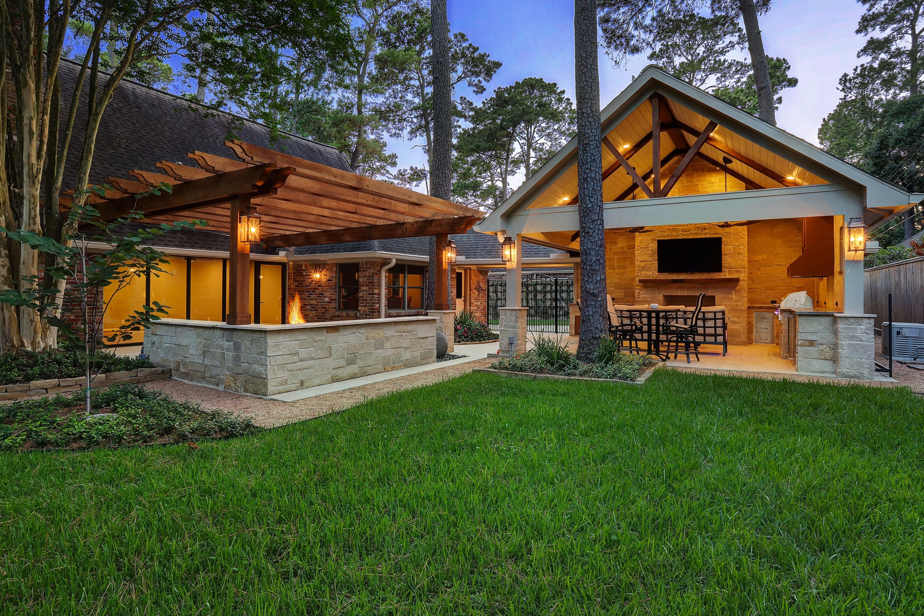 Outdoor Remodel With Pergola Gable Roof Fireplace Fire Pit And Outdoor Kitchen Outdoor Remodel Pergola Dream Patio