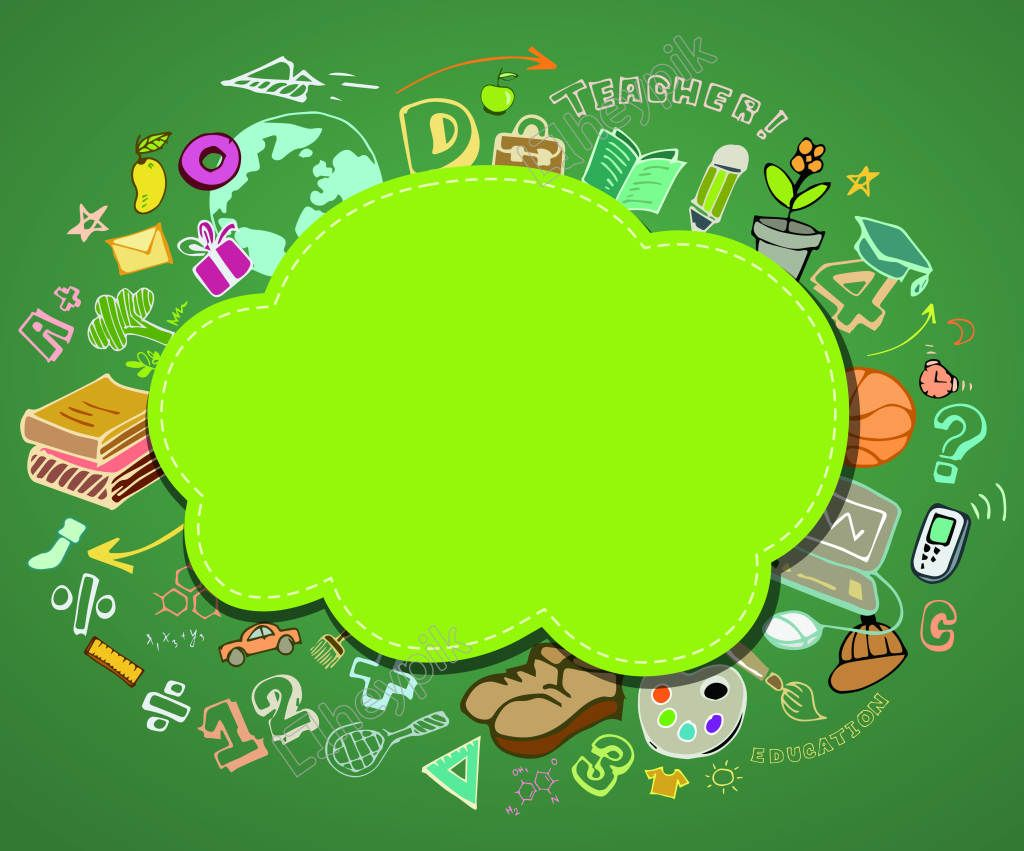 Vector Cartoon Green Children S Educational Background Children