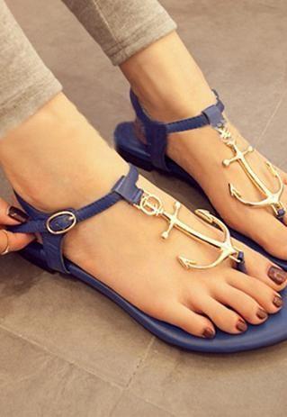 4e87eb3254e66 Fashion Anchor Connecting Thong Sandal
