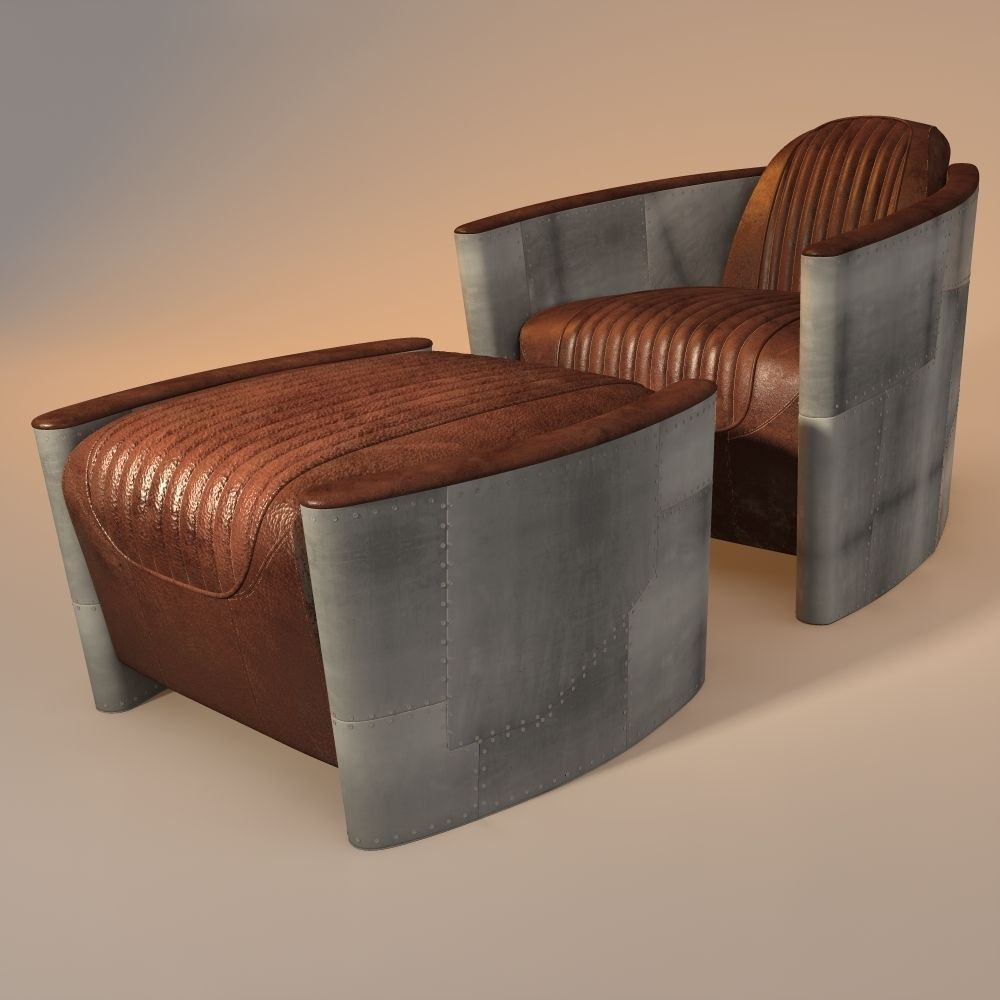 Aviator Chair And Ottoman 3d Model Aviation Furniture Unique