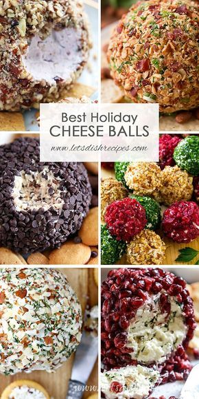 Best Holiday Cheese Ball Recipes: These savory and sweet cheese balls are perfect for serving as Thanksgiving or Christmas dinner appetizers, or to bring to your next holiday party. #appetizers #cheese #cheeseball #holiday #christmas #thanksgiving #recipes
