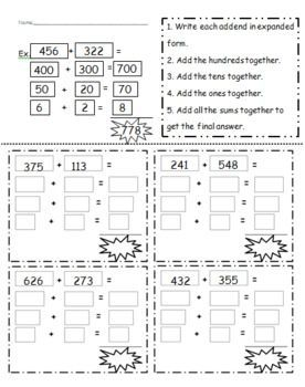 3 digit addition using expanded notation expanded notation 2nd grade math pinterest. Black Bedroom Furniture Sets. Home Design Ideas
