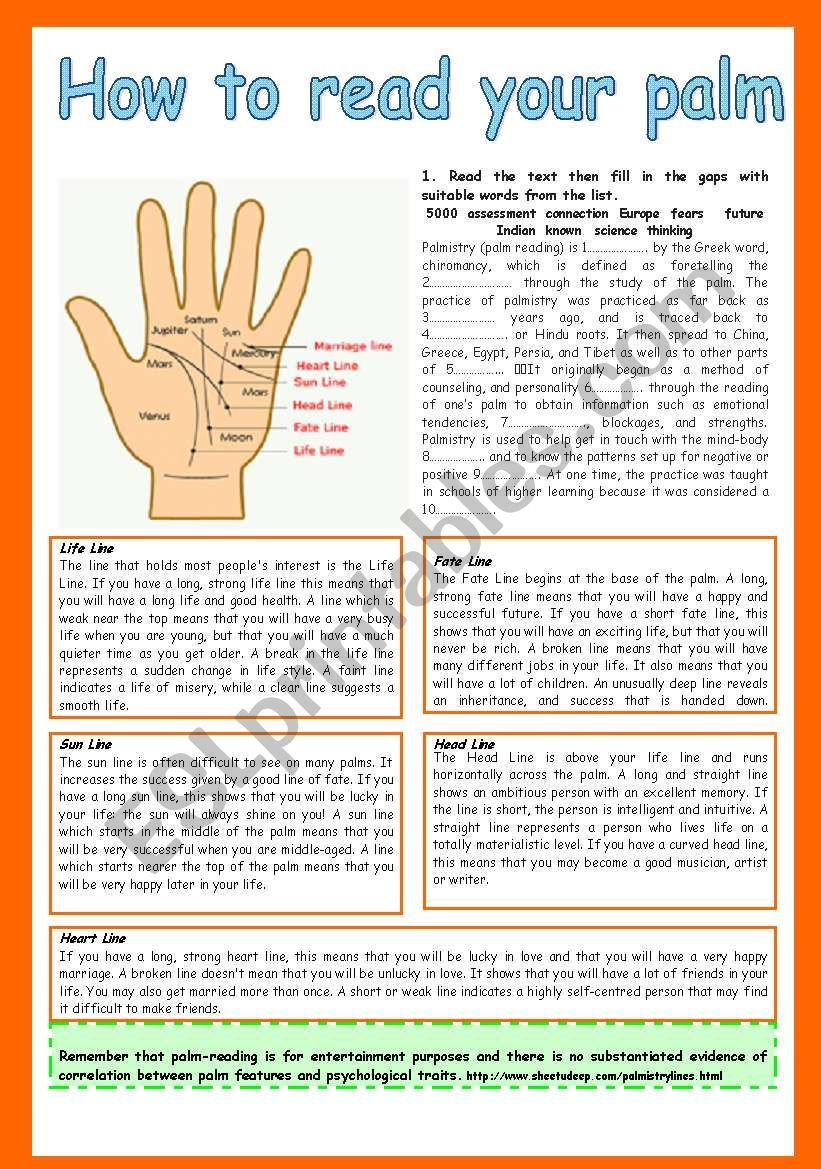 How To Read Your Palm Reading Comprehension Gap Filling Multiple Choice True Or False Personal Response Palm Reading Lines Palm Reading Reading Worksheets [ 1169 x 821 Pixel ]