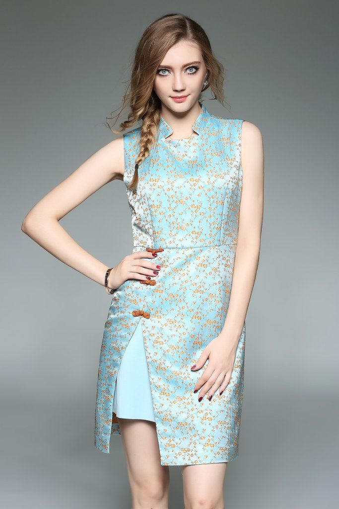 Plum Blossom Embroidery Cheongsam Mini Dress – Ewheat