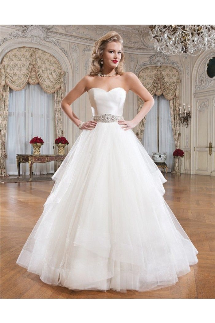 Princess Ball Gown Strapless Sweetheart Low Back Tulle Wedding Dress ...