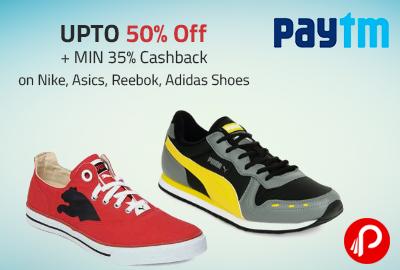 Paytm offers UPTO 50% Off + MIN 35% Cashback on Nike, Asics,