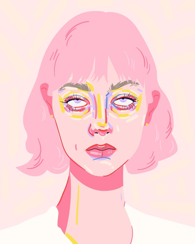Digital portrait of a girl rolling her eyes