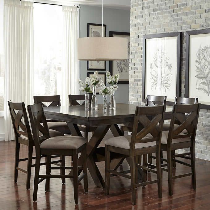 felicia 9-piece counter-height dining set | dining room