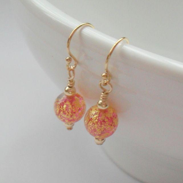 b96bcd6c4 Murano Venetian Glass earrings Gold Filled Dainty Drop Earrings £16.50  #folksy365 #rainbowfriday