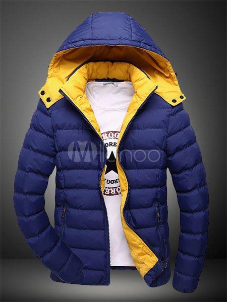 XQS Mens Windbreaker Padded Jacket Coat Winter Long Hood Thicken Jackets