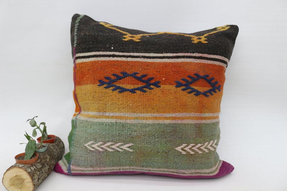 Patterned Pillow, Orange Pillow, Kilim Pillow 20x20, Throw Pillow, Nomadic Pillow, Gift Pillow,Pillow Case,Turkish Ethnic Pillow SP5050 5896