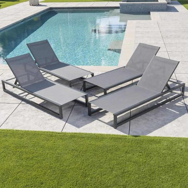 Mercury Row Lindenberg Reclining Sun Lounger Set Lounge