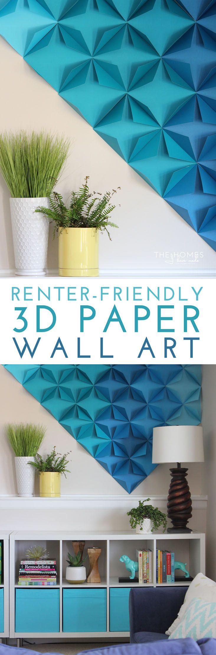 Renter-Friendly 3D Paper Wall Art   Paper wall art, Paper walls ...