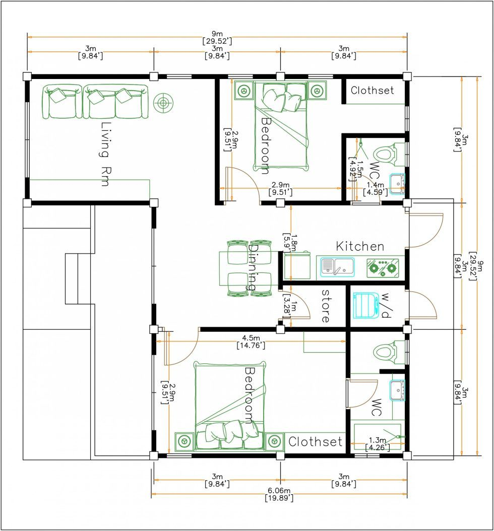 House Plans 9x9 Meters 30x30 Feet 2 Bedrooms Hip Roof Houseplanidea Best House Plans House Plans Modern Style Homes