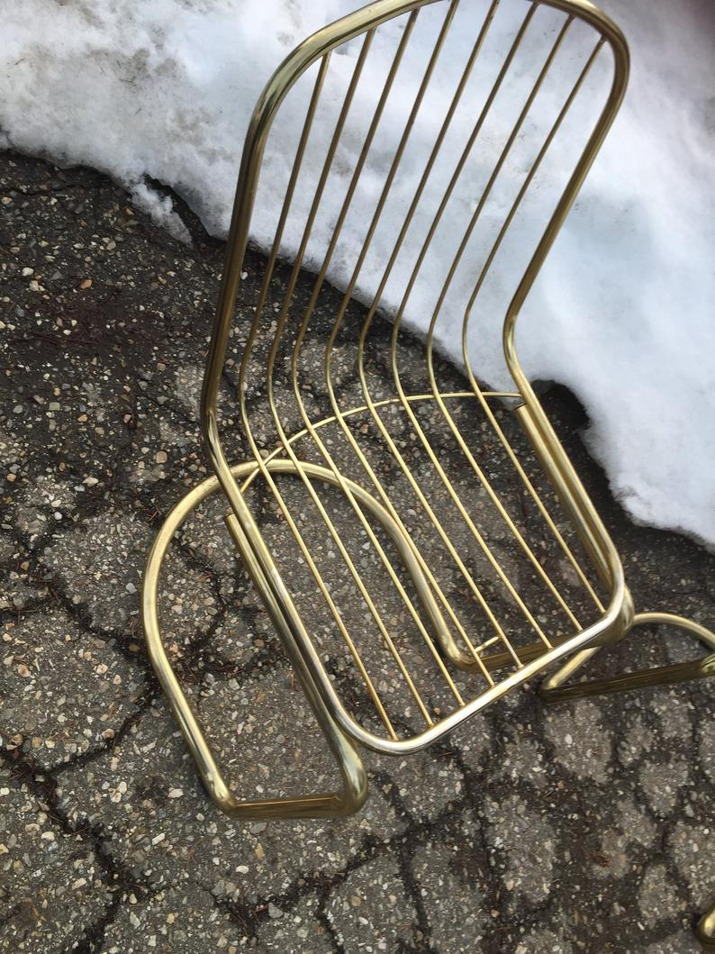 Vintage Cantilever Chairs Mod Gold Brass Dining Chairs Mid Etsy Wire Dining Chairs Dining Room Accent Chairs Cantilever Chair