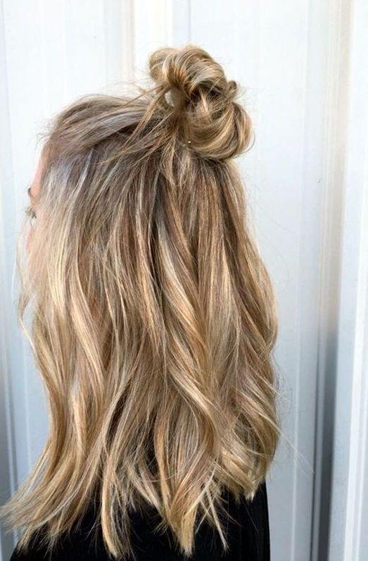 Half Up Half Down Messy Bun Hair Styles Long Hair Styles Sandy Blonde Hair