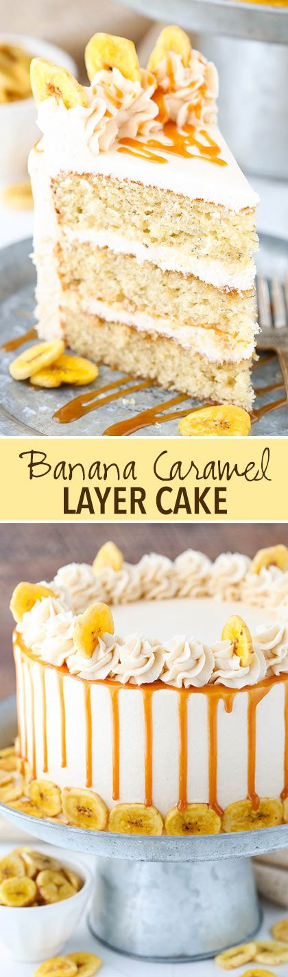 Caramel Banana Layer Cake is part of Desserts - Moist banana cake layers covered in caramel sauce & frosted with more caramel frosting! This awesome Caramel Banana Layer cake is a must try banana dessert