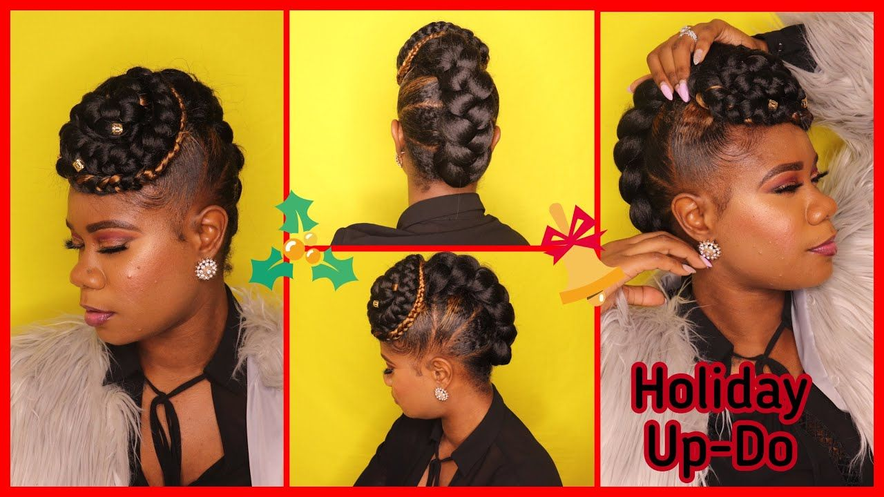Holiday Hair Simple Braided Updo On Natural Hair Quick Hairstyle With Braiding Hair Youtube Easy Braids Holiday Hairstyles Braided Hairstyles