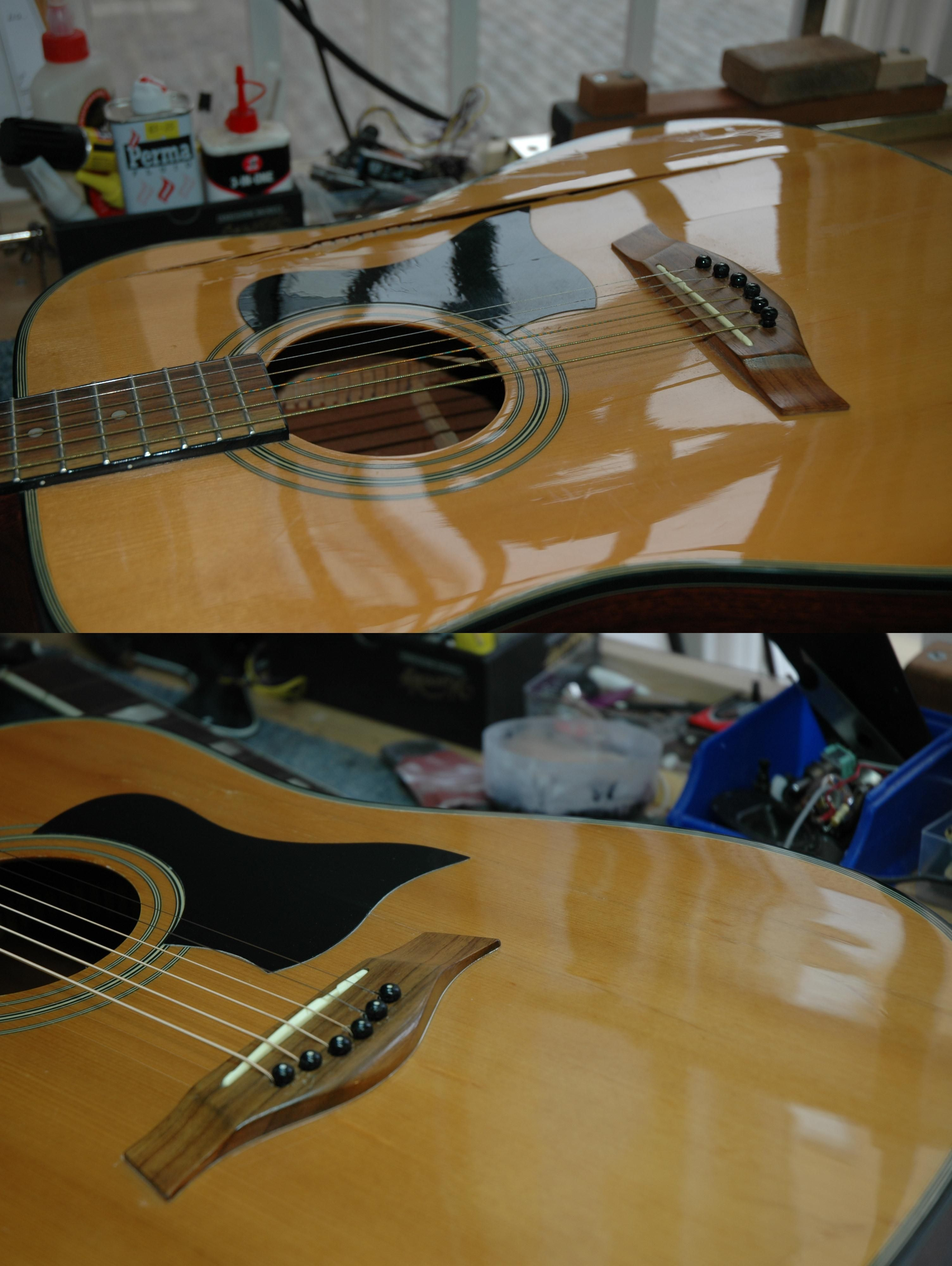 Guitar Repair Tanglewood Acoustic Before And After Repair To Top And Finish Touchup Search Dave Rowlinson Guitar Repair On Faceboo Guitar Repair Acoustic