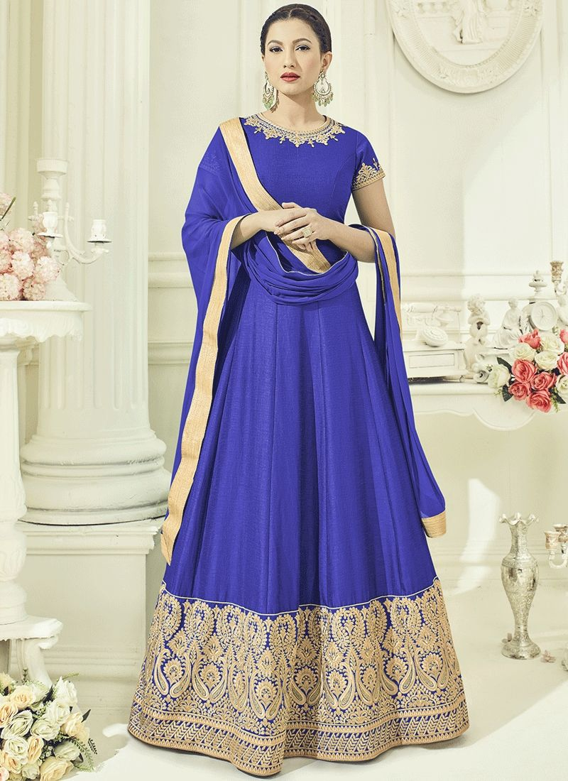 Gauhar khan lace work blue floor length anarkali suit anarkali