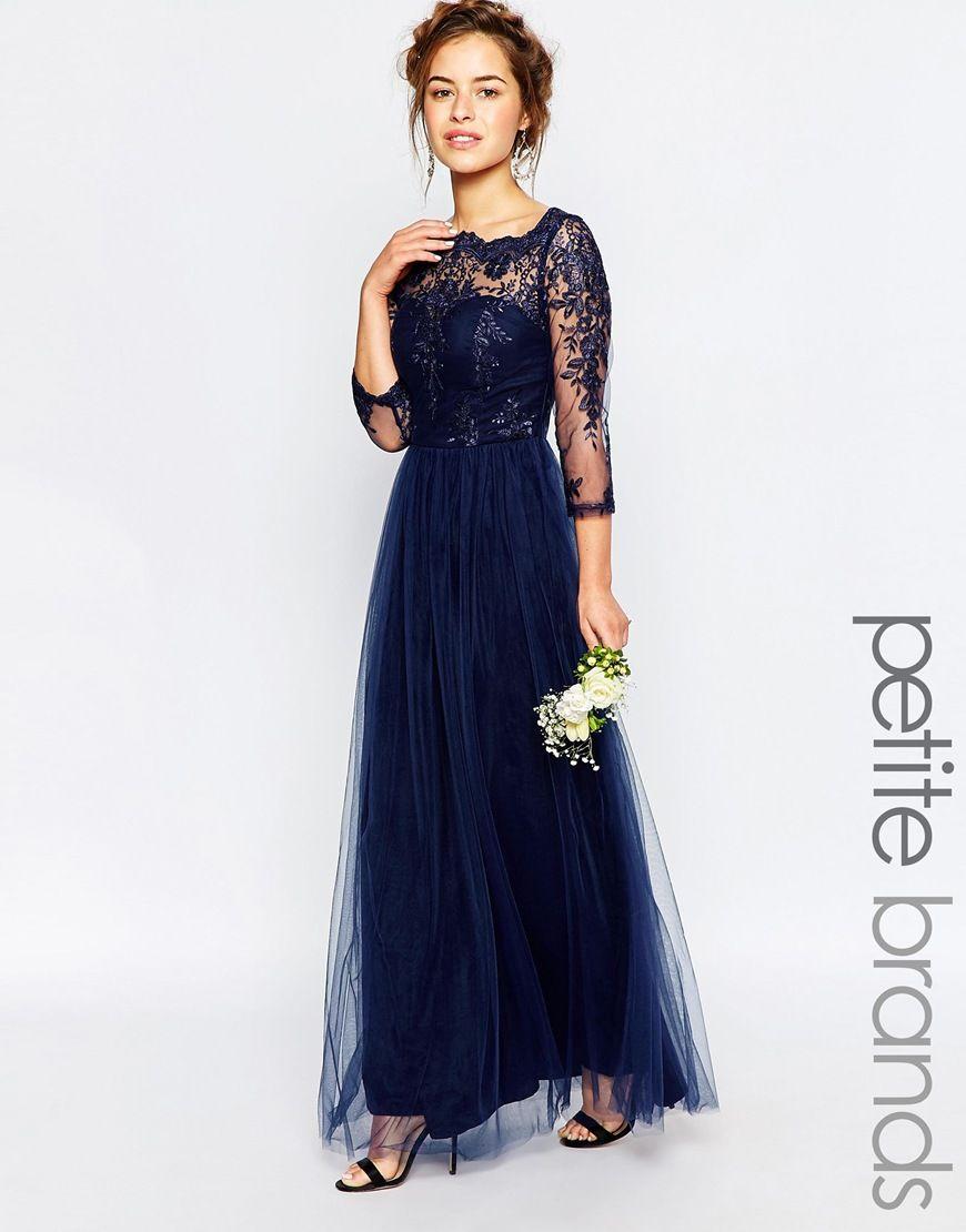 Image 1 of chi chi london petite bardot lace maxi dress clothes ombrellifo Choice Image