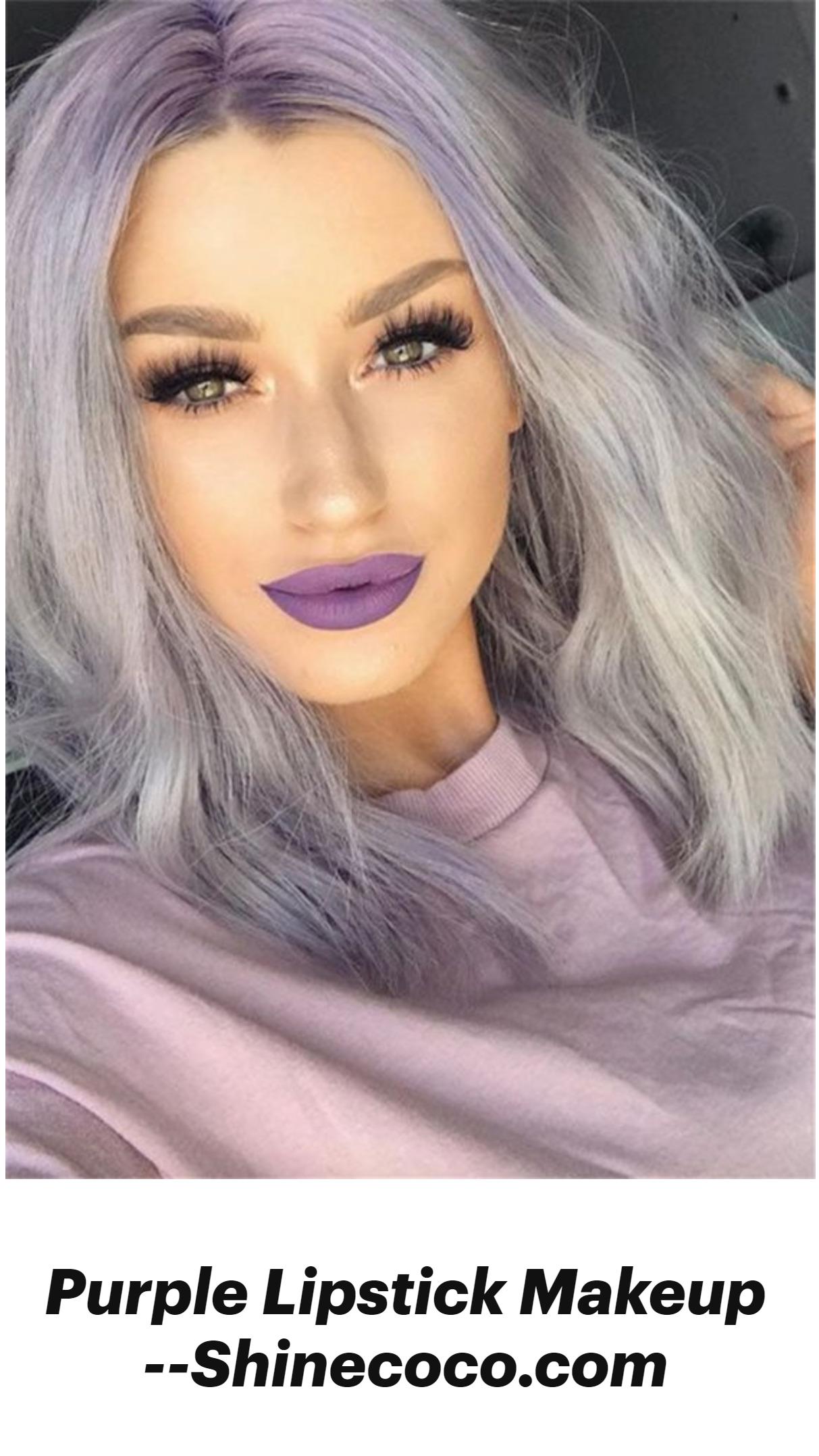 Purple Lipstick Makeup –Shinecoco.com