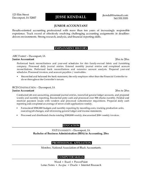 Sample Resume For Accounting Internship Career Change Resume