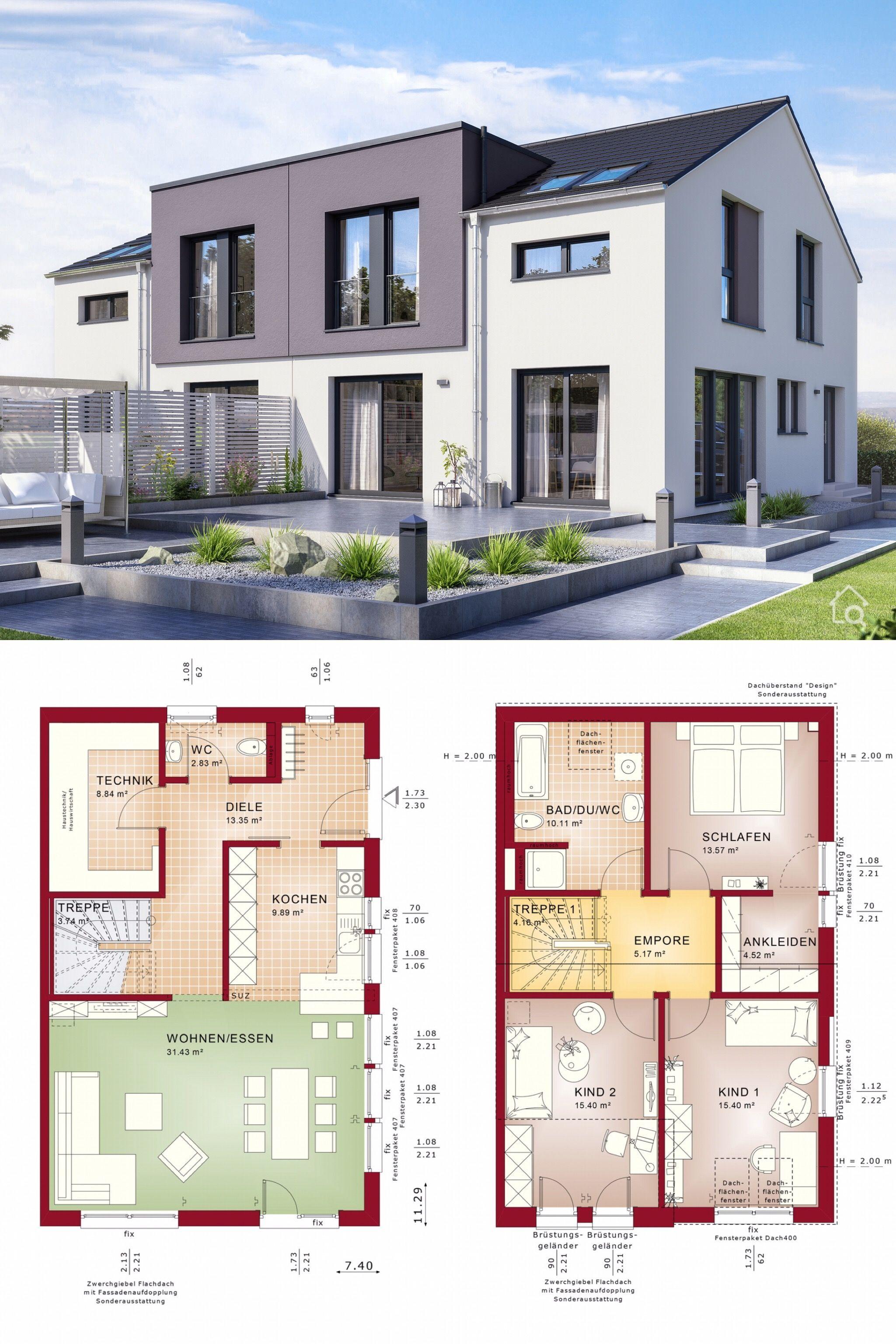 Doppelhaushälfte modern Grundriss mit 4 Zimmer