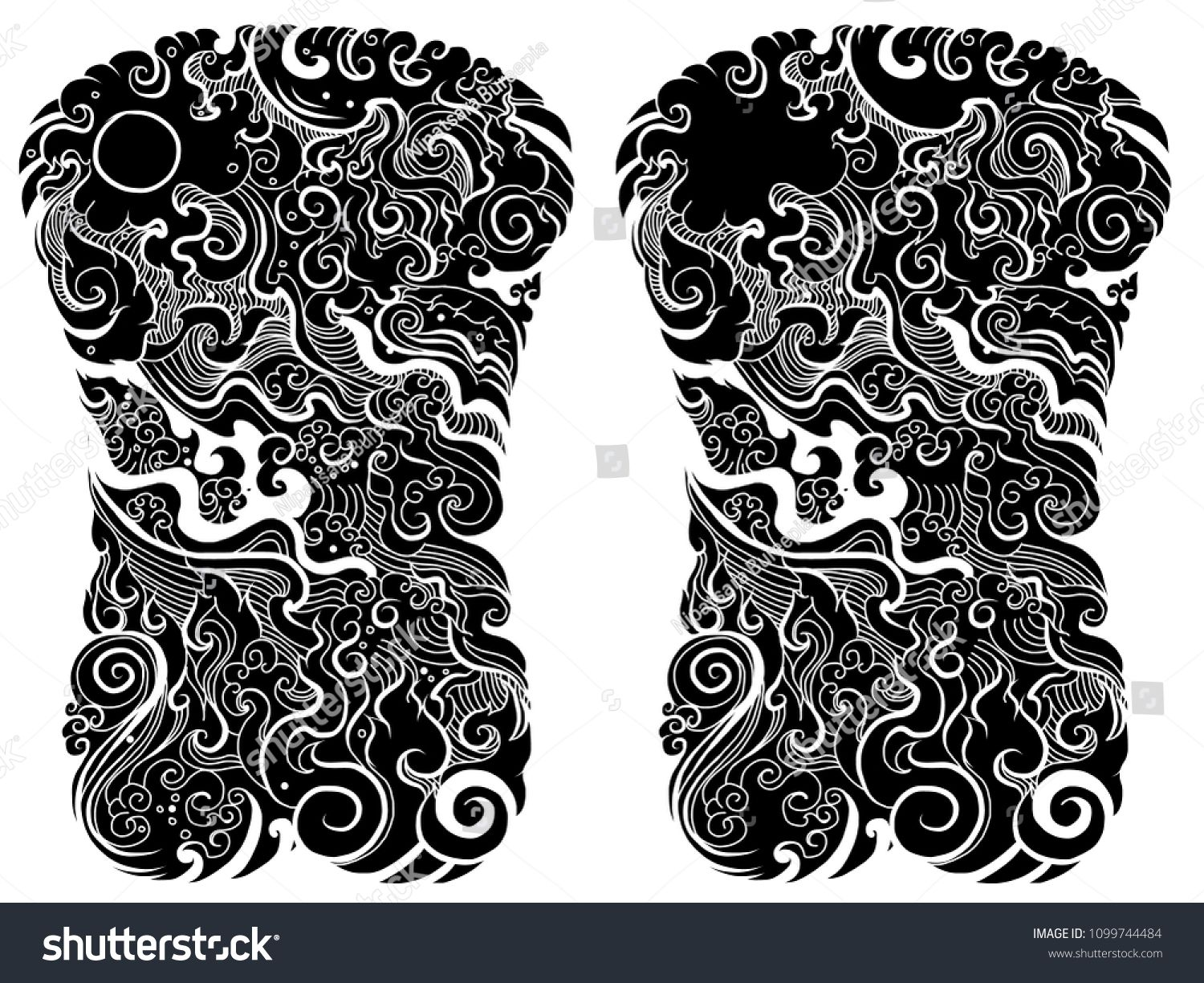 Line Thai Water Wave Design For Tattoo Japanese Wave For Tattoo Background Line Thai Is Thail Dragon Tattoo Colour Japanese Tattoo Designs Tattoo Coloring Book