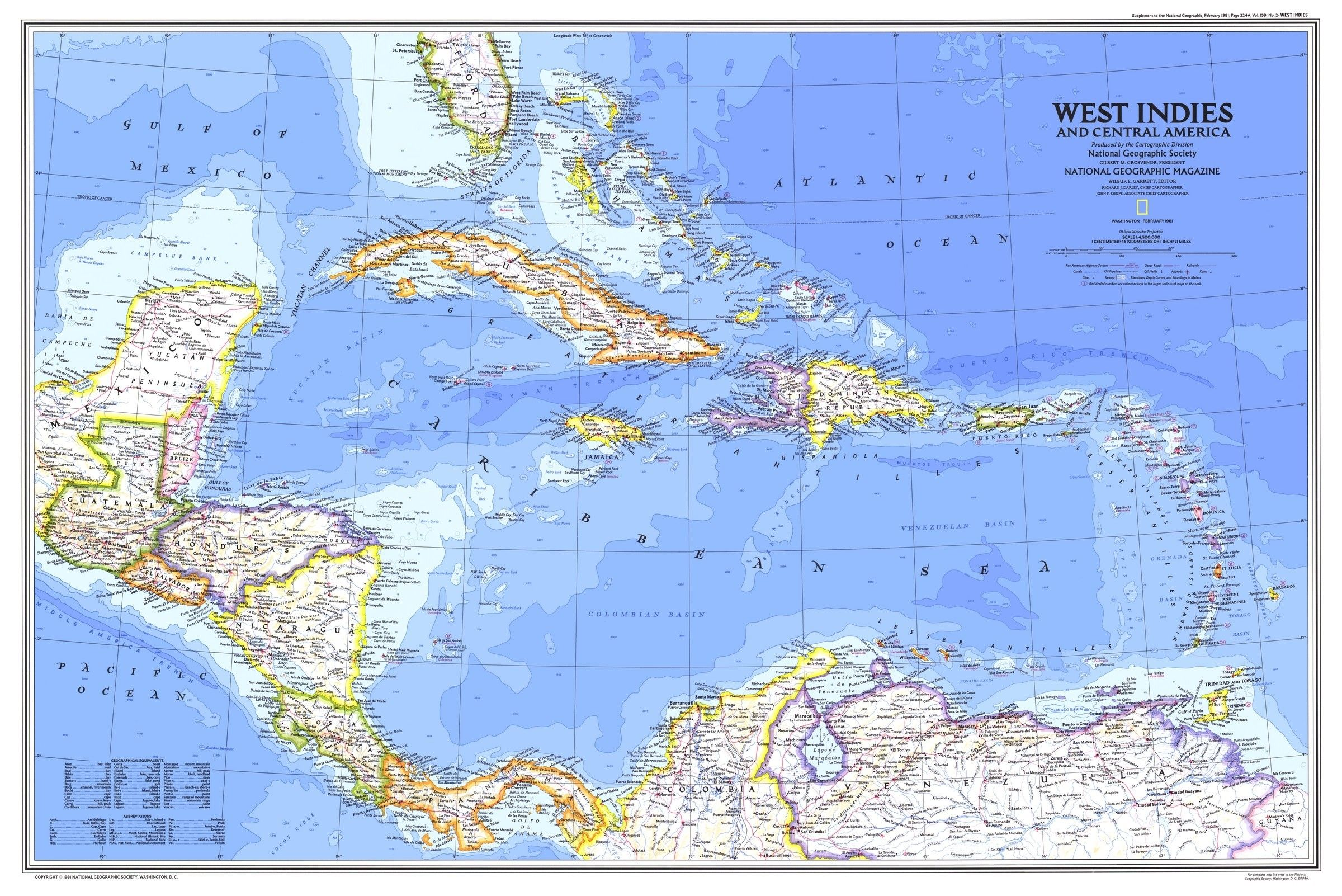 national-geographic-west-ins-and-central-america-map-1981 ... on