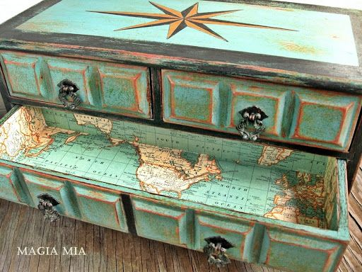 Chalk Painted Jewelry Box Map Lined Drawers Turquoise Black Orange