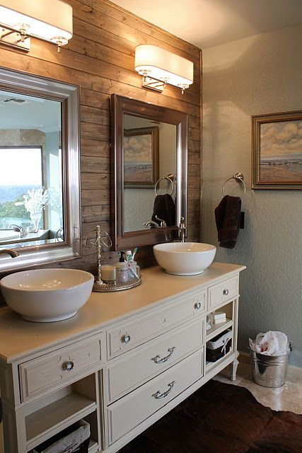 Rustic Plank Wall In Bathroom The Darker Colored Wood Makes A Nice Accent Wall Behind The Vanity Home Home Decor Plank Walls