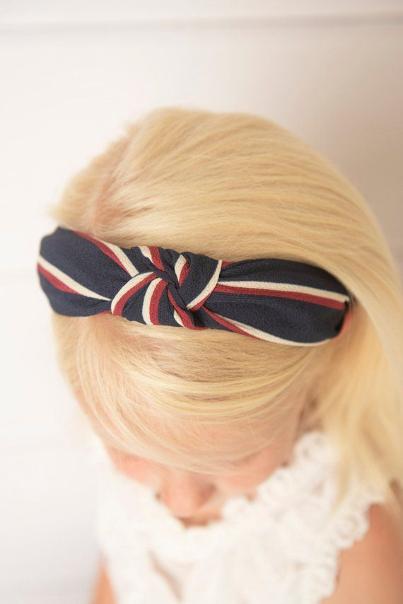 navy stripe knotted hard headband for girl 05a8192442f