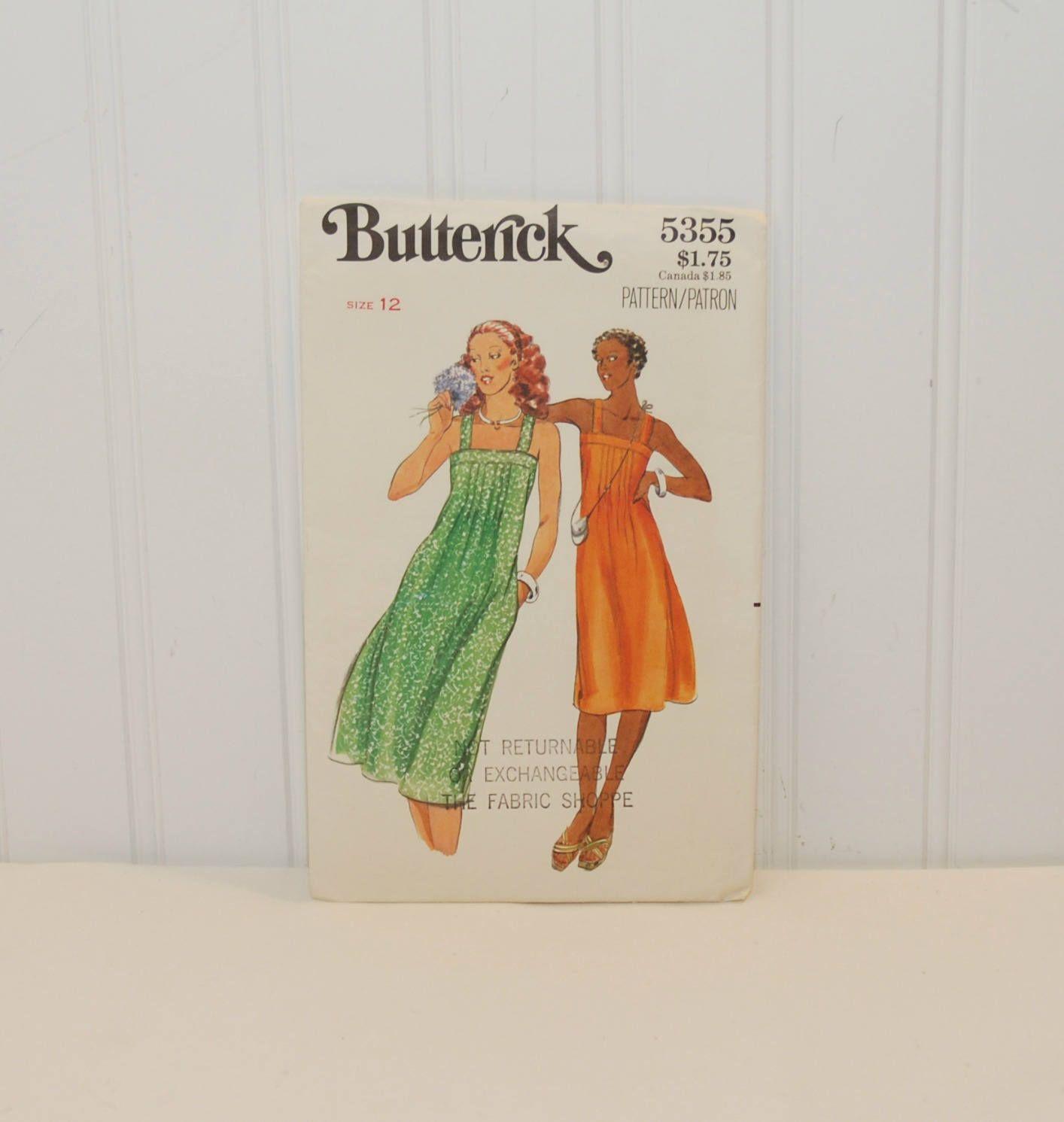 Vintage Butterick 5355 Sundress Sewing Pattern (c. 1970\'s) Misses ...