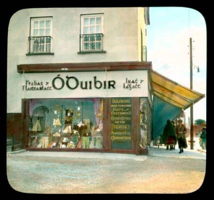 Cashel: street scene with O'Duibir tailoring shop