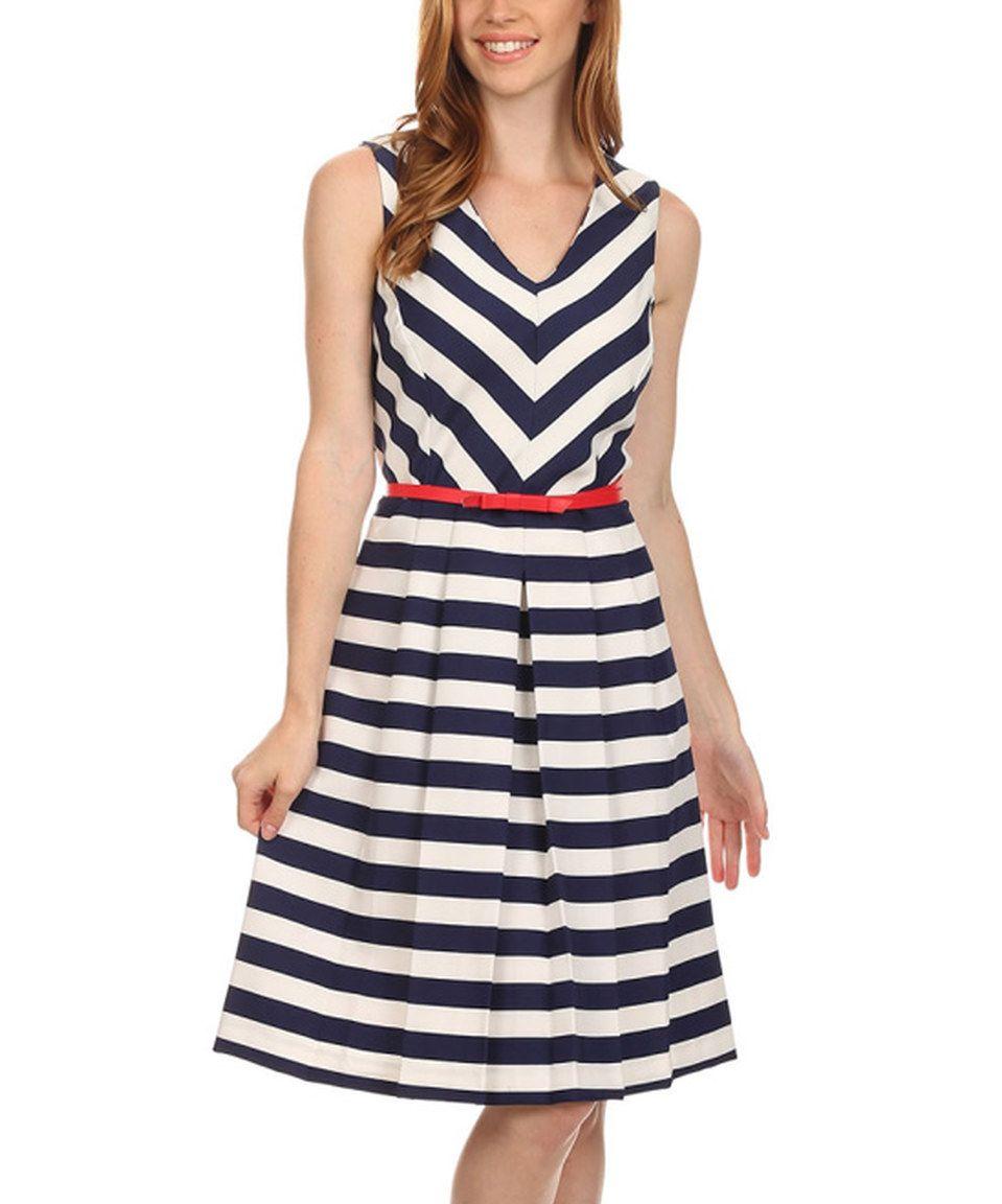 Look At This Zulilyfind Shelby Palmer Ivory Navy Stripe Contrast Belted Shelby Dress By Shelby Palmer Zulilyfinds Moda Feminina Moda Saias