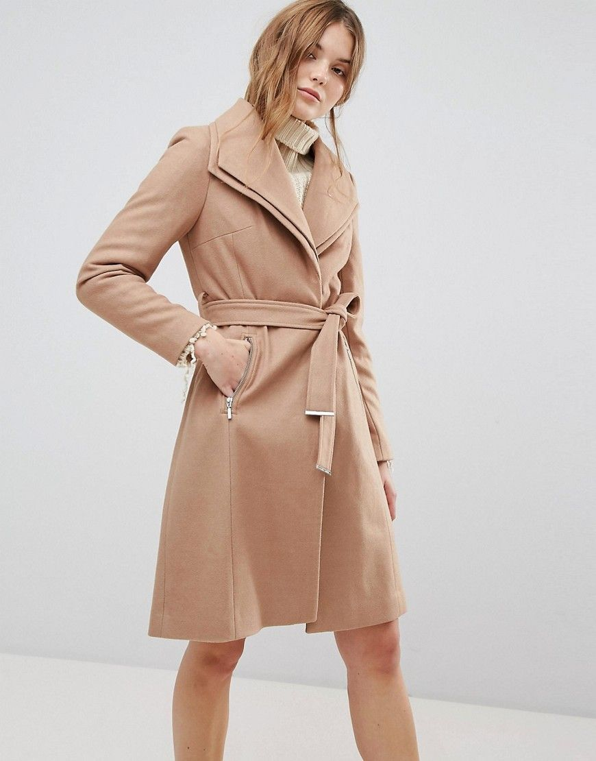 New Look   Mantel mit Gürtel und doppeltem Wasserfalldesign ...